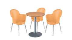 3 x BREST orange / 1 x CHAUSEY bois : ensemble de mobiliers en location
