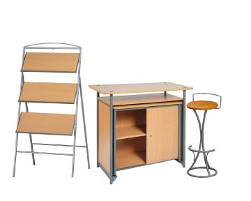 Ensemble de mobiliers en location : 1 x PHILIBERT bois / 1 x PENHIR camel / 1 x ANJOU bois