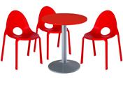 3 x DIVONNE rouge / 1 x CHAUSEY rouge : ensemble de mobiliers en location
