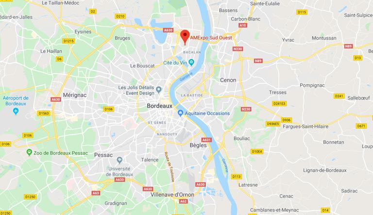 Plan d'accès pour se rendre à AMEXPO SUD OUEST à Bordeaux